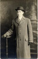 Young Morris Horwitz in coat.